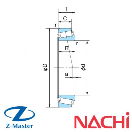 H-E30203J конический подшипник Nachi
